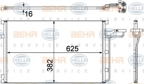 Конденсатор, кондиционер HELLA арт. 8FC351307621
