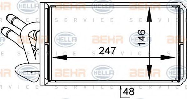 Теплообменник, отопление салона HELLA арт. 8FH351333041