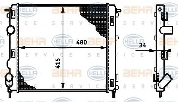 Радиатор, охлаждение двигателя HELLA арт. 8MK376719681
