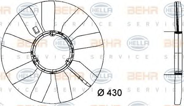 Крыльчатка вентилятора, охлаждение двигателя HELLA арт. 8MV376733281
