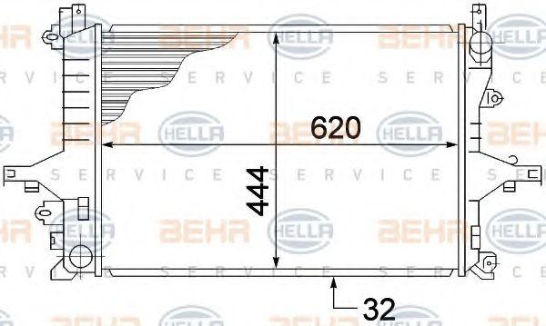 Радиатор, охлаждение двигателя HELLA арт. 8MK376774221