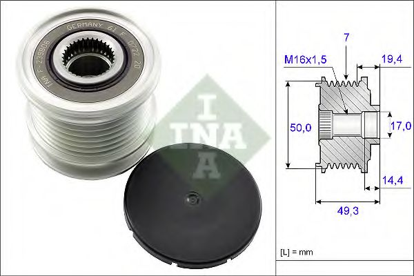 Механизм свободного хода генератора INA арт. 535014010