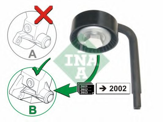 Натяжной ролик, поликлиновой  ремень INA арт. 531079010