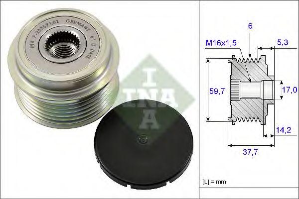 Механизм свободного хода генератора INA арт. 535016210