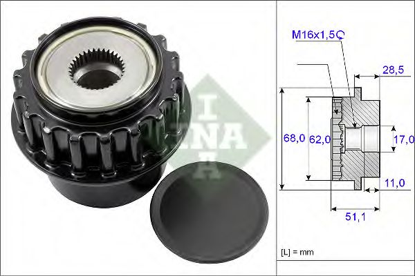 Механизм свободного хода генератора INA арт. 535017510