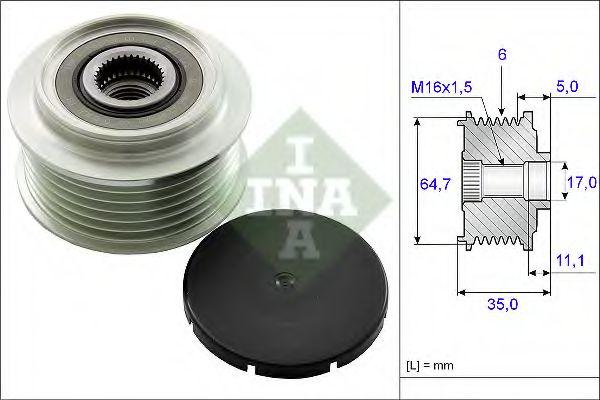 Механизм свободного хода генератора INA арт. 535025010