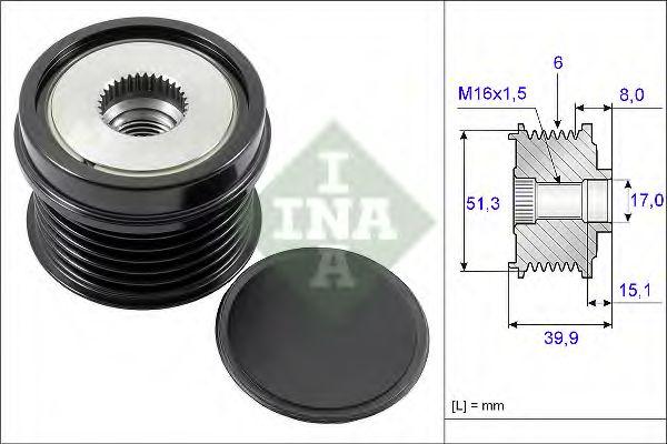 Механизм свободного хода генератора INA арт. 535025210