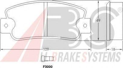 Комплект тормозных колодок, дисковый тормоз ABS арт. 36518