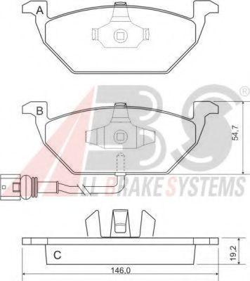 Комплект тормозных колодок, дисковый тормоз ABS арт.