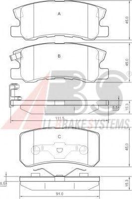Комплект тормозных колодок, дисковый тормоз ABS арт. 37199