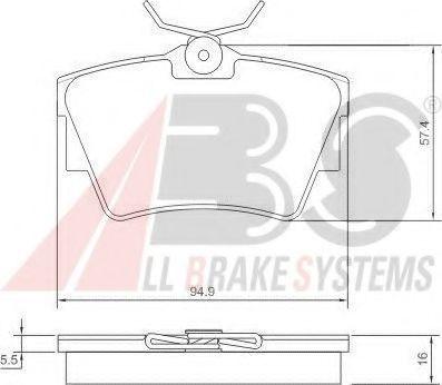 Комплект тормозных колодок, дисковый тормоз ABS арт. 37288