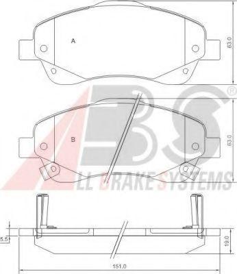 Комплект тормозных колодок, дисковый тормоз ABS арт. 37400