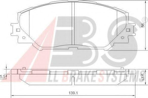 Комплект тормозных колодок, дисковый тормоз ABS арт. 37544