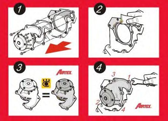 Водяной насос + комплект зубчатого ремня AIRTEX арт. WPK199806