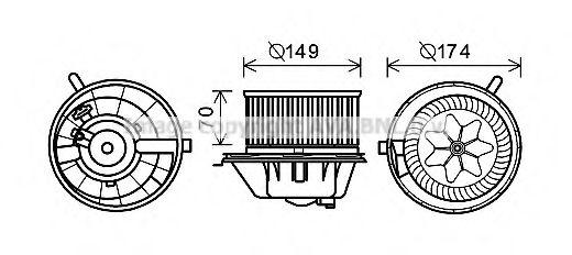 Электродвигатель, вентиляция салона AVAQUALITYCOOLING арт. VW8342