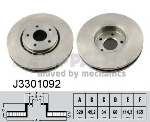Тормозной диск NIPPARTS арт. J3301092