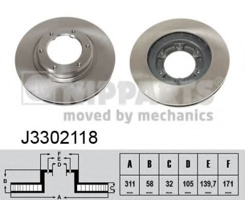 Тормозной диск NIPPARTS арт. J3302118