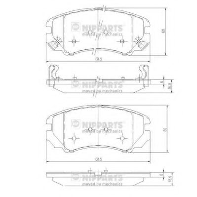 Комплект тормозных колодок, дисковый тормоз NIPPARTS арт. J3600541