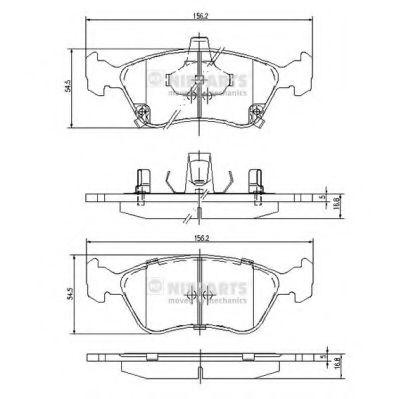 Комплект тормозных колодок, дисковый тормоз NIPPARTS арт. J3602080
