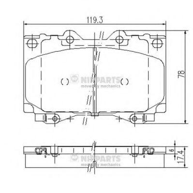 Комплект тормозных колодок, дисковый тормоз NIPPARTS арт.