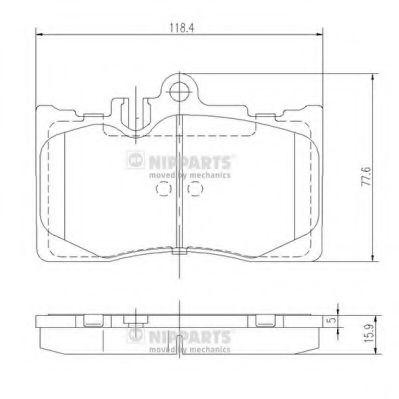 Комплект тормозных колодок, дисковый тормоз NIPPARTS арт. J3602111