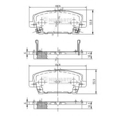 Комплект тормозных колодок, дисковый тормоз NIPPARTS арт. J3604065