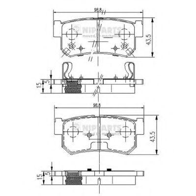 Комплект тормозных колодок, дисковый тормоз NIPPARTS арт. J3610401