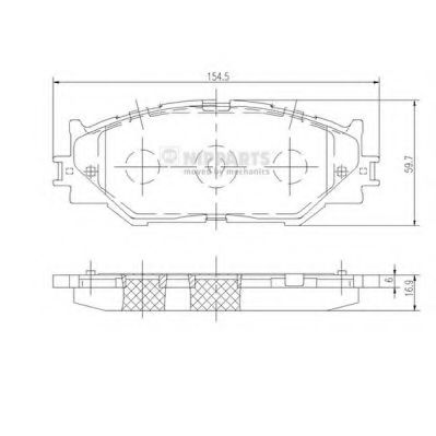 Комплект тормозных колодок, дисковый тормоз NIPPARTS арт. N3602128
