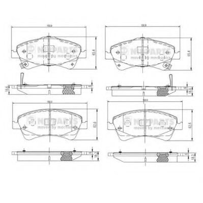 Комплект тормозных колодок, дисковый тормоз NIPPARTS арт. N3602133