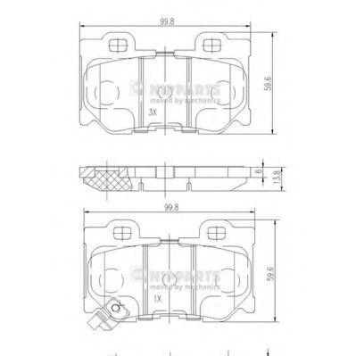 Комплект тормозных колодок, дисковый тормоз NIPPARTS арт. N3611053