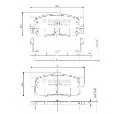 Комплект тормозных колодок, дисковый тормоз NIPPARTS арт. J3611034