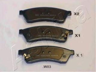 Комплект тормозных колодок, дисковый тормоз ASHIKA арт.