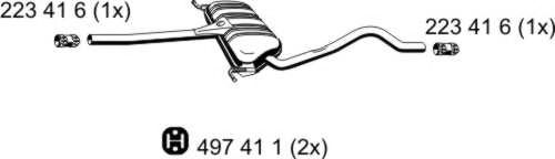 Средний глушитель выхлопных газов ERNST арт. 204163
