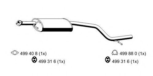 Средний глушитель выхлопных газов ERNST арт. 344098