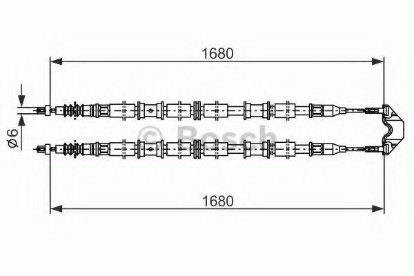 Трос, стояночная тормозная система BOSCH арт. 1987482107