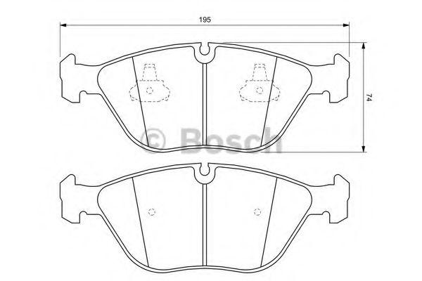 Комплект тормозных колодок, дисковый тормоз BOSCH арт. 0986424649