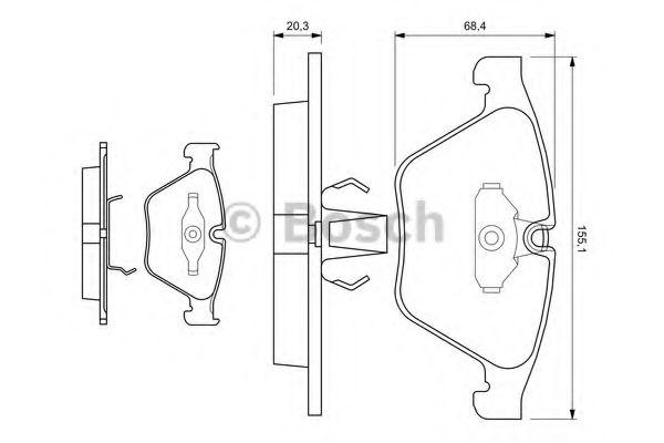 Комплект тормозных колодок, дисковый тормоз BOSCH арт. 0986494036