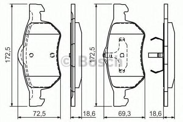 Комплект тормозных колодок, дисковый тормоз BOSCH арт. 0986424668