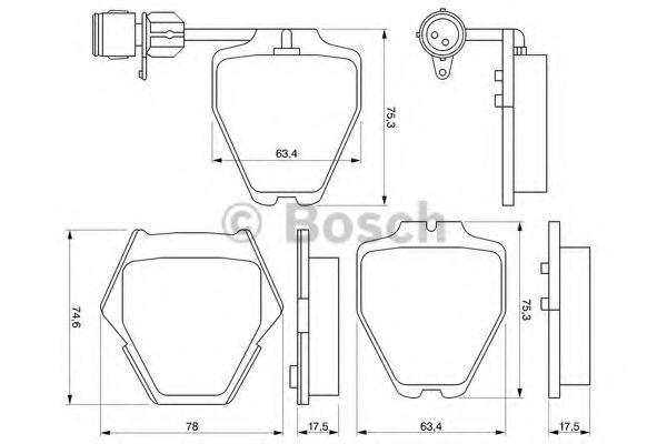 Комплект тормозных колодок, дисковый тормоз BOSCH арт. 0986424689