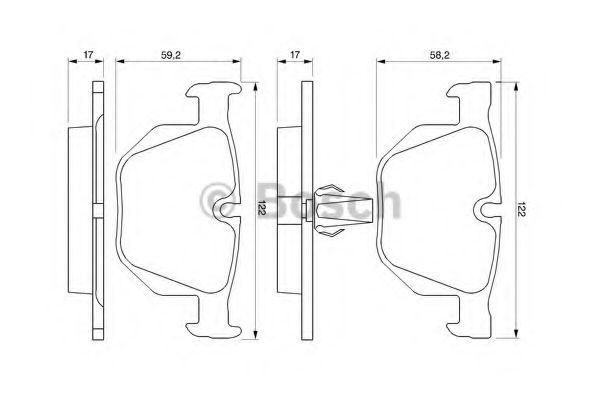 Комплект тормозных колодок, дисковый тормоз BOSCH арт. 0986424766