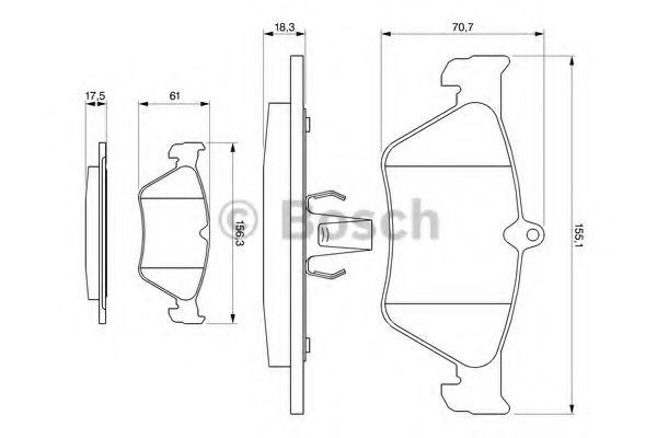 Комплект тормозных колодок, дисковый тормоз BOSCH арт. 0986461129