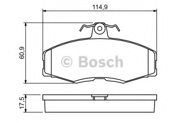 Комплект тормозных колодок, дисковый тормоз BOSCH арт. 0986468613