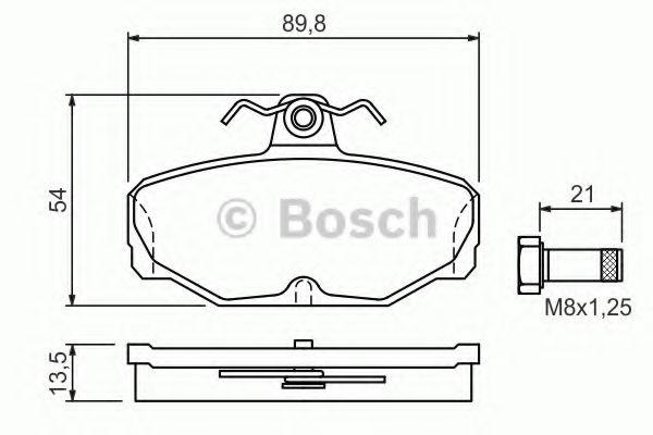 Комплект тормозных колодок, дисковый тормоз BOSCH арт. 0986469810
