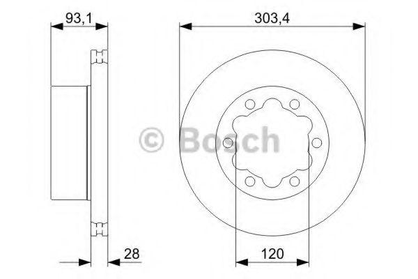 Тормозной диск BOSCH арт.