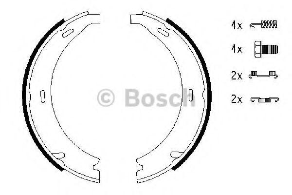 Комплект тормозных колодок, стояночная тормозная система BOSCH арт. 0986487543