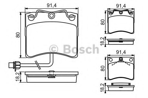 Комплект тормозных колодок, дисковый тормоз BOSCH арт. 0986494041