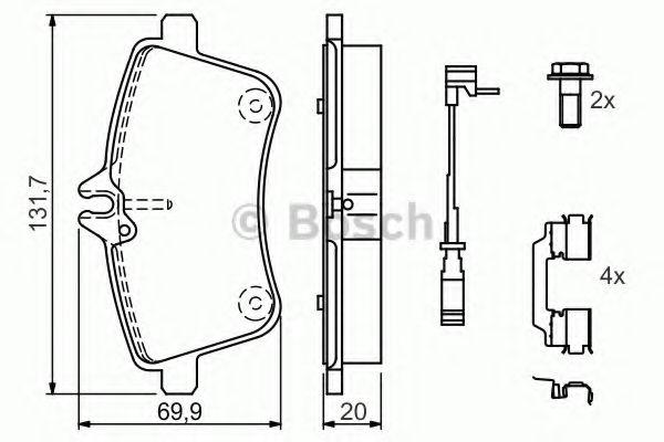 Комплект тормозных колодок, дисковый тормоз BOSCH арт. 0986494085