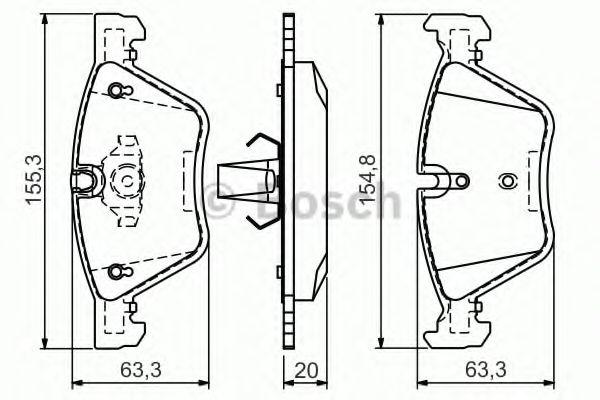 Комплект тормозных колодок, дисковый тормоз BOSCH арт. 0986494118