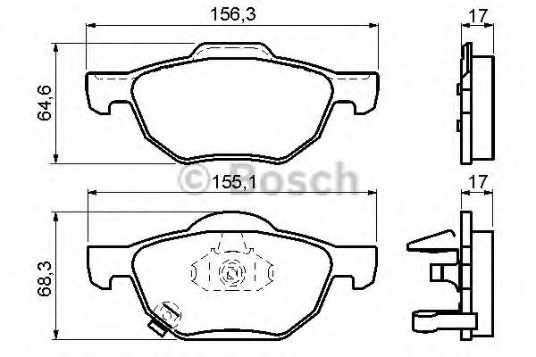 Комплект тормозных колодок, дисковый тормоз BOSCH арт. 0986494135