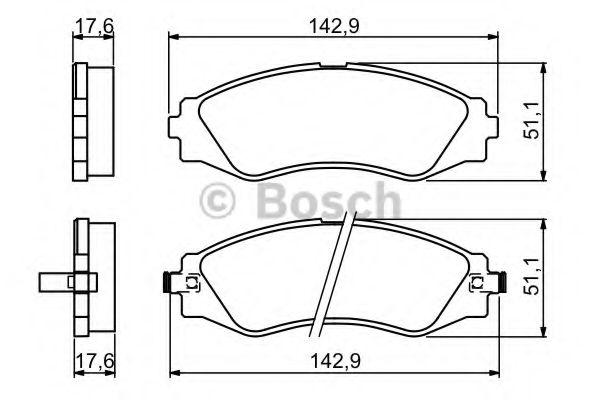 Комплект тормозных колодок, дисковый тормоз BOSCH арт. 0986494173